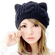 ★秋冬新作★ ネコ 猫耳モチーフのニット帽子 レディース かわいい6色
