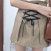 初秋 新しいデザイン 女性服 ハイウエスト 着やせ 包帯 リボン PUレザー 学生パック