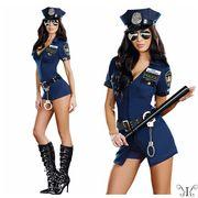 【セール888866】大きいサイズ コスプレ☆ポリス 警察官 4点セット F