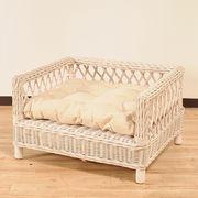 【ラタン家具】 ペットベッド ホワイト (天然ラタン使用)(直送可能)