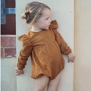 ★女の子 ベビー人気2色 ロンパース フリル肩★長袖 カバーオール オールインワン 赤ちゃん 新生児
