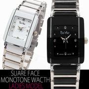 【ブレスレット感覚】★レディース・モノトーン&ストーンスタイル腕時計【保証書付】