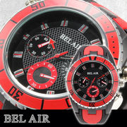 【Bel Air collection】 バイカラー ラバーベルト メンズ 腕時計 JY1 レッド【ビッグフェイス】