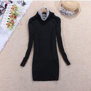 20●  シンプルカラー ロング丈セーター ブラック グレー