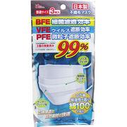 日本製 不織布マスク 99% 口元側綿100% ふつうサイズ 3枚入