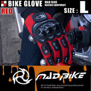 硬質プロテクターモデル バイクグローブ 手袋 赤 Lサイズ