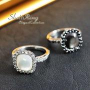 大特価!【天然貝×キュービックジルコニア★ステンレスのリング!】シェルの指輪★St-9018