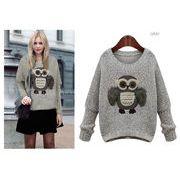 フクロウプリントゆったり長袖セーター