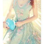 結婚式/パーティードレス/花飾り付きお洒落なチュールワンピースドレス♪