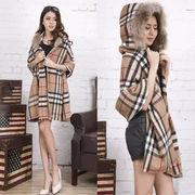 新作ファッション/フード付きのチェック柄マフラー/マントとして使える/保温性高いテン毛の素材