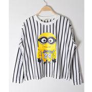 韓国ファッション/Minionsプリントストライプ柄Tシャツ♪