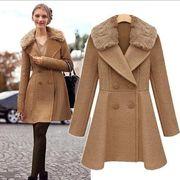 欧米スタイル/ダブルブレスト/分厚い/長袖ウールコート