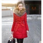 冬商品/ボリューム感ありのリアルファー襟/リボン付きロング丈綿コート♪