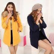 2色4サイズ/無地/ファー付き襟/ロング丈/分厚いコート