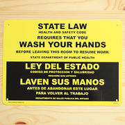 看板/プラスチックサインボード 手洗い厳守 State Law/Wash Your Hands CA-15
