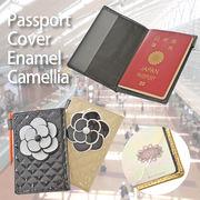 【旅行 パスポート】パスポートケース キルト エナメルカメリア付 シンプル 黒 ベージュ カバー
