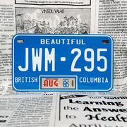 好きな文字にできるカナダナンバープレート(中・USバイク用サイズ)ブリティッシュコロンビア