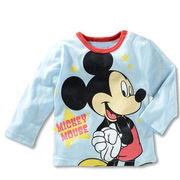 ディズニー ミッキー 薄手長袖Tシャツ 90cm~130cm 綿100%