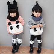 韓国 子供 ベビー パーカー セットアップ パンダ柄 動物 女の子 厚手 裏起毛  ロングパンツ 2色