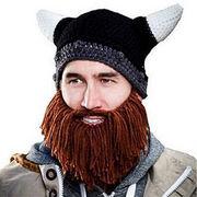 ローマ騎士風 牛の角 ニット帽子 ヒップホープ 男女兼用 ニットキャップ ヘルメット型帽子 3色あり