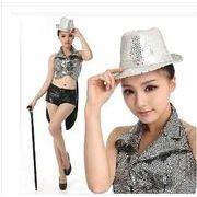 舞台演出服 帽子付き 舞踊メタリック/ キッズ2点セット ステージ衣装  団体服