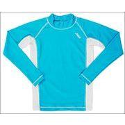 子供用 長袖ラッシュガード UVカット UPF50+ 130cm ブルー/ホワイト