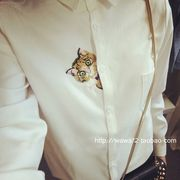 シャツ♪刺繍 シングルブレスト ポケット◆ホワイト #45794