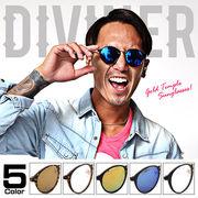 知的さ×高級感♪【DIVINER】ゴールドテンプルサングラス/眼鏡 メガネ  メンズ カラーレンズ