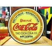 アメリカンブリキ看板 コカ・コーラ 丸い樽のラベル
