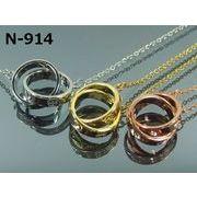 【レディースネックレス】スワロフスキー社製クリスタル使用 LOVEリングネックレス