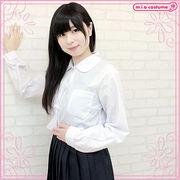 ■送料無料■丸襟長袖シャツ単品 色:白 サイズ:M/BIG