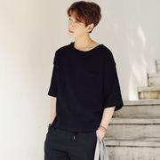 麻混ス七分袖Tシャツ メンズ 2色 100788