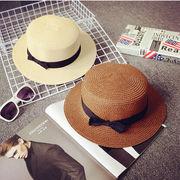 紫外線防止!★レディース帽子★麦わら帽子★ストローハット★リボン★全6色★2点入