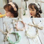 子供 ヘアバンド 赤ちゃん キッズ ベビー ヘアアクセサリー お花 ヘッドバンド レース  髪飾り パール 3色