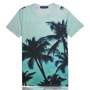 ペアルック/ユニセックスリゾート風/ラウンドカラー半袖Tシャツ