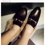 2016★秋と冬★怠惰な★韓国風★ウサギ★スリッパ★フラット★学生★ピーズ★靴★加絨綿靴