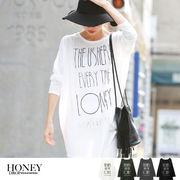 【SALE】THEUSHERプリントBIGロングTシャツ/ロンT/トップス/長袖