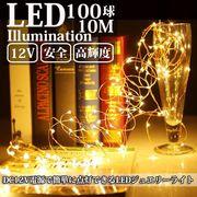 LEDイルミネーション ジュエリーライト 12V電源 10m 100球 ワイヤー クリスマスライト
