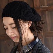 あったか素材♪ウール混ニットベレー帽◆423378