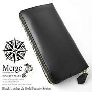 【Merge】マージ馬革×牛革ラウンドファスナー長財布MG-1716BK ブラック