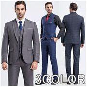 ビジネススーツ チェック柄スーツ  2ボタン 結婚式 メンズ スーツセットアップ スリム 通勤 就職 二次会