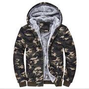 秋冬 裏起毛 ジャケット メンズ 迷彩 大きいサイズ アウター  アウトドア 防寒 ジップアップパーカー