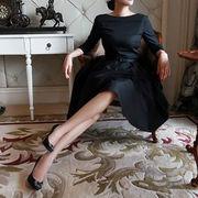 ワンピース フレア レトロ 七分袖 クラシカル ヘップバーン風 ドレス