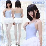 ■送料無料■チュールスカート付きキャミソールレオタード 色:水色×白 サイズ:M/BIG