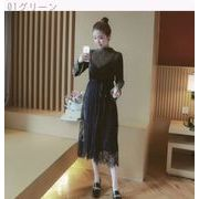 Rinaシリーズ★新しいデザイン★韓国風★女性服★ベルト★レース★ドレス★長袖★ワンピー