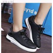 ひもあり★レザー★白い靴★女性の靴★韓国風★白★フラット★スポーツシューズ★スケートボー