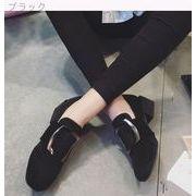 太いヒール★ベルトバックル★韓国風★新しいデザイン★靴★浅い口★スクエアヘッド★スエード