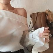 女性服★首輪★白★シフォンシャツ★シャツ★女★短いスタイル★リボン★長袖★ルース★ボトム