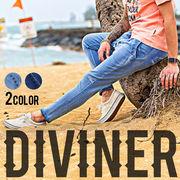 2017春夏新作★【DIVINER】カットデニムロングパンツ/メンズ トップス 春夏 スウェットデニム