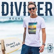 2017春夏新作★【DIVINER】SURF Print T-shirt/メンズ カットソー トップス プリント ロゴ